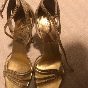 Gold Guess Stiletto heels